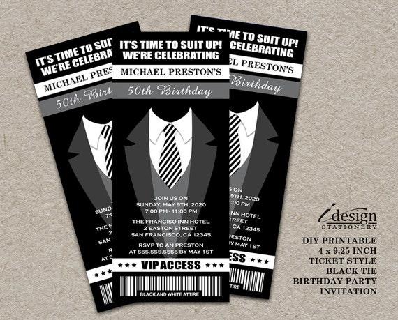 Tuxedo 50th Birthday Party Ticket Invitation Printable Etsy