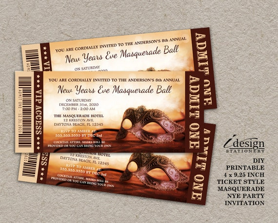 New Years Eve Masquerade Party Invitation Printable Ticket