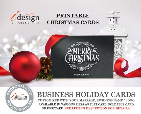 Business Holiday Cards Printable Corporte Christmas Cards Etsy