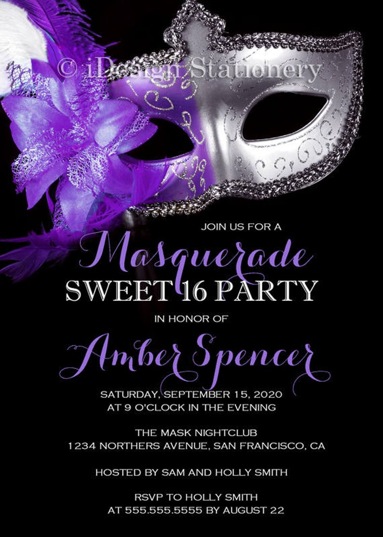 Masquerade Sweet 16 Invitation