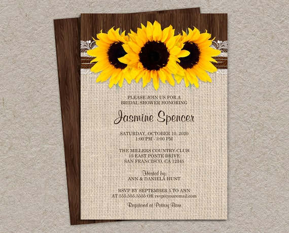 Rustic Country Sunflower Bridal Shower Invitations Diy Etsy
