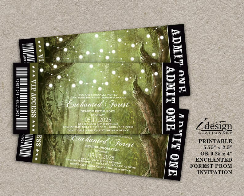 ed46c527d75 Enchanted Forest Prom Invitation Printable Fairytale Themed