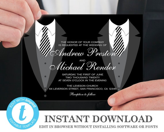 Gay Marriage Wedding Invitations: Printable Gay Wedding Invitation Template