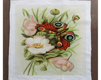 Rose Wall Printed On Fabric Panel Make A Cushion Upholstery Craft