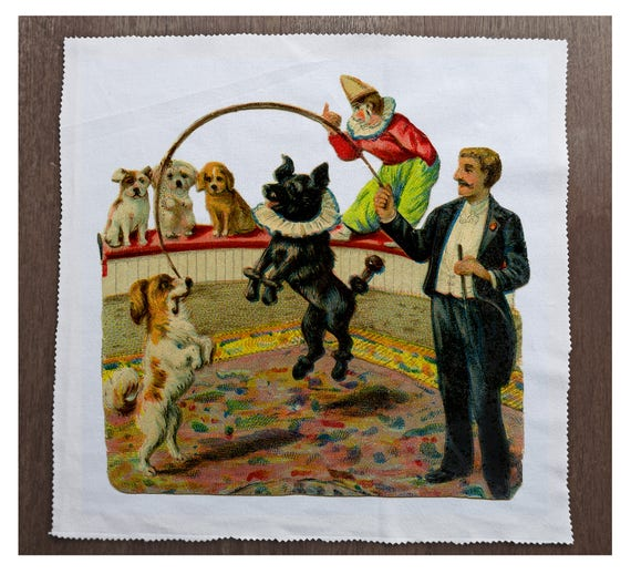 Alice In Wonderland Dog Printed Fabric Panel Make A Cushion