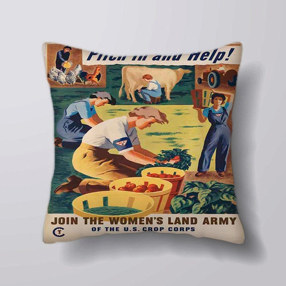 Womans Land Army World War Printed Fabric Panel Make Cushion Upholstery Craft
