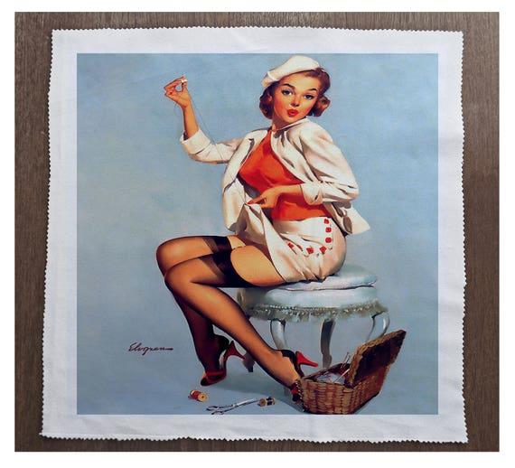 Printed Fabric Panel Make A Cushion Upholstery Craft Pin Up Girl Dress Making