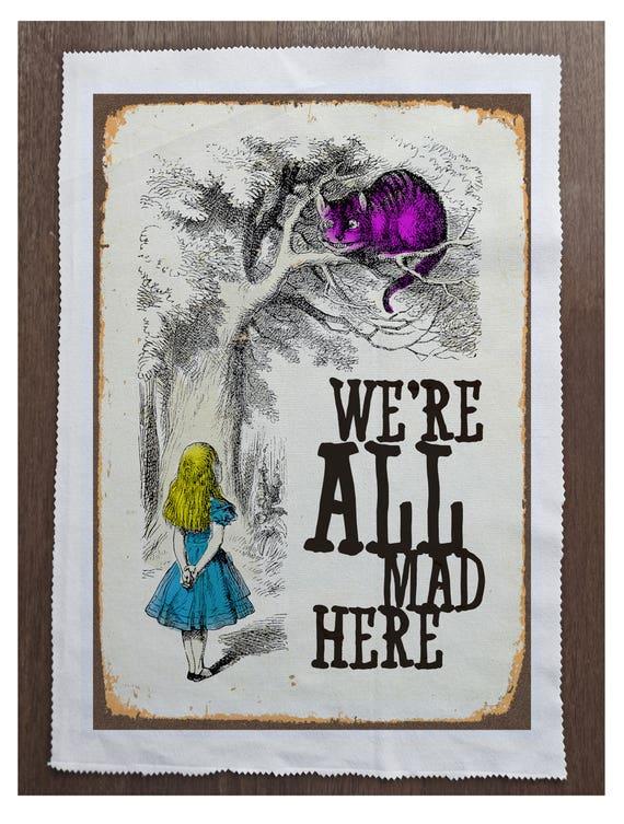 Alice Wonderland Rabbit LatePrinted Fabric Panel Make A Cushion Upholstery Craft