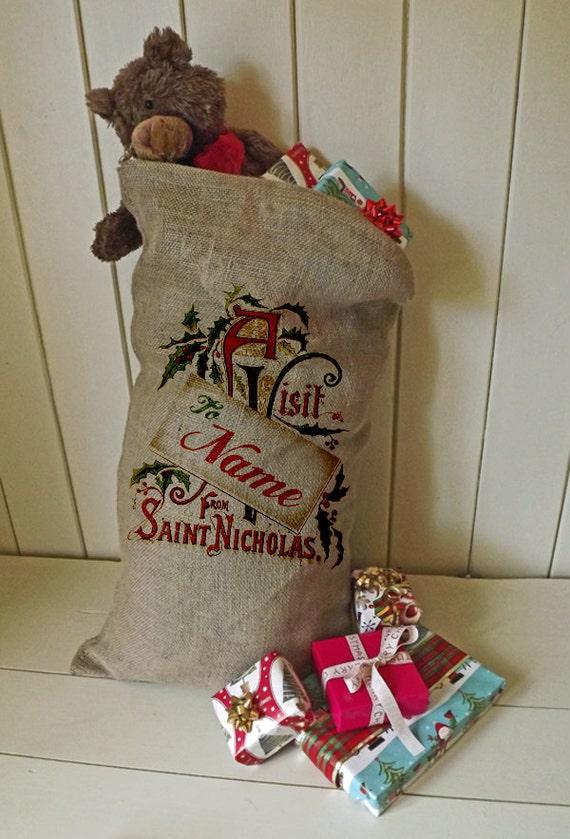 Large Christmas Hessian Jute Sack Stocking Bag Xmas