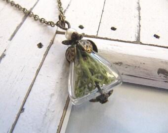 Echtes Moos in gläsernem Dreieck vintage Halskette kurz