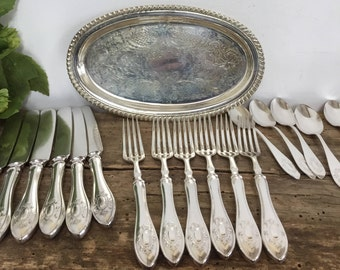 Silver Plate 25 Pieces Knives Forks Spoons Teaspoons Ladle Casserole Spoons Silverware Silverplate Vintage Wedding Gift