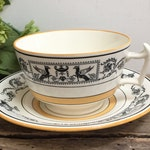 """Vintage Copeland Spode """"Grecian Border"""" China Tea Cup Saucer England Cottage Chic Teacup Antique Cup and Saucer Black White Gold Classical"""
