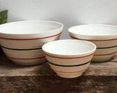 Vintage Vitrock Anchor Hocking Milk Glass Mixing Bowls Nesting Bowl 9 quot 7 1 2 quot 6 quot Red Black Stripe Kitchen Retro Cottage Chic Farmhouse