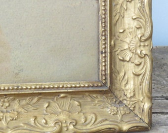 Antique Gold Wooden Picture Frame Vintage Wall Decor 1900s Shabby Cottage Chic Fixer Upper Home Decor 11 by 14 inches