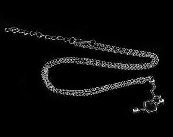 serotonin molecule necklace science pendant chain chemical structure