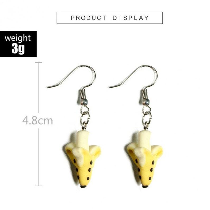 banana earrings fruit earrings fruity earrings hook dangle drop cute  earrings  quirky pierced earrings cute charm