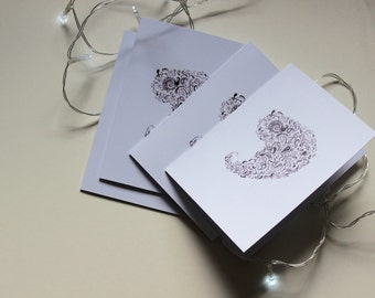Illustrated Paisley Note Card