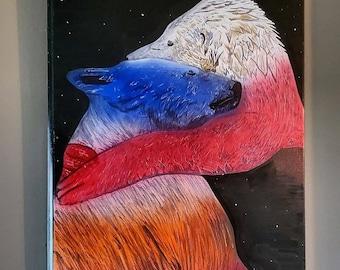 Polar bear canvas painting