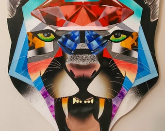 """Mountain Lion Mdf cutout painting """"Resilient"""""""