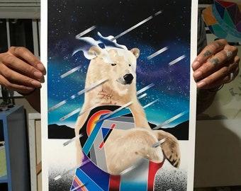 Solace, Geometric polar bear digital print