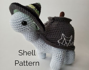 Sammie the Turtle Cauldron Shell with Witch Hat | Crochet Removable Shell Pattern