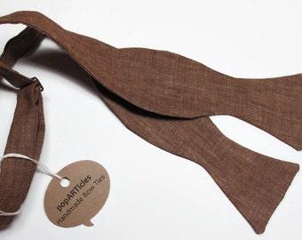 Freestyle Brown Linen Bow Tie - Handmade Men's Bow Tie - Self-Tie Bow Tie - Tan Bow Tie - Tan Linen Bow Tie - Brown Bow Tie