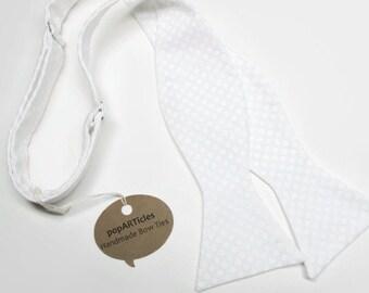 Freestyle White Polka Dot Bow Tie - White Bow Tie - Polka Dot Bow Tie - Handmade Men's Bow Tie - Self-Tie Bow Tie in Cotton