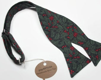 Freestyle Christmas Holly Bow Tie - Holly Bow Tie - Handmade Men's Bow Tie - Christmas Bow Tie - Self-Tie Bow Tie - Xmas Bow Tie
