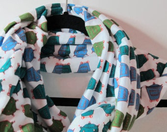 Robot Infinity Scarf - Robot Scarf - Handmade Jersey Infinity Scarf in White with Olive, Teal, and Blue Robots - Robot Gift