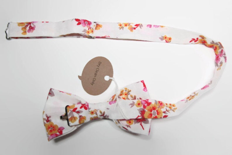 Men/'s Pre-Tied Bow Tie Handmade with 100/% Cotton White Floral Bow Tie Pink and Yellow Floral Bow Tie