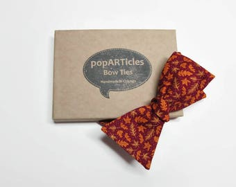 Freestyle Leaf Bow Tie - Autumn Bow Tie - Fall Leaf Bow Tie - Leaves Bow Tie - Self-Tie Bow Tie - Burgundy Bow Tie - Fall Bow Tie