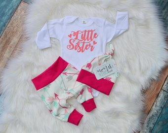 Little Sister newborn outfit, newborn outfit, newborn girl coming home outfit, take home outfit girl, baby girl, take home outfit, hello