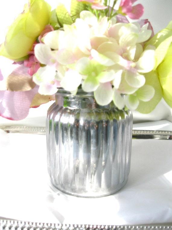 Set 4 Silver Mercury Vases 4 Mercury Glass Vases Decor Wedding Etsy