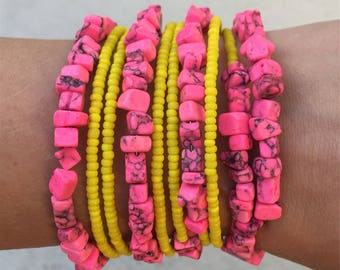Bright Dyed Pink Howlite and Yellow Glass Seed Beads Wrap Memory Wire Handmade Gemstone Bracelet Unique Modern One Of a Kind Gift for Her