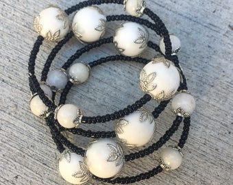 Natural White Jade and Black Glass Seed Bead - Wrap Memory Wire - Handmade Gemstone Bracelet Statement Birthstone, Modern One Of a Kind Gift
