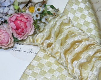 """1.5"""" CREAMY IVORY WIRED Check French Ribbon Trim Vintage Antique Cocarde Ruffle Ruch oFF wHITE Wedding Cake Art Deco Ribbonwork Hat  Dress"""