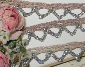 "1.00 yd 3/8"" FRENCH CROWN LACE Vintage Schiffli Venise Cotton Cluny Trim Ribbon Applique Wedding Dress  Doll Gimp Jacquard rococo Rosette"