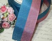 1y PINK MAUVE BLUE Vintage Taffeta Ribbon Woven Rayon French Trim Millinery Bow 1920s Flapper Cloche Hat Work Antique Jacquard Pin Stripe