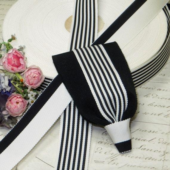 5y VTG BLACK WHITE STRIPE GROSGRAIN HAT RIBBON TRIM BOW WEDDING CAKE COCARDE