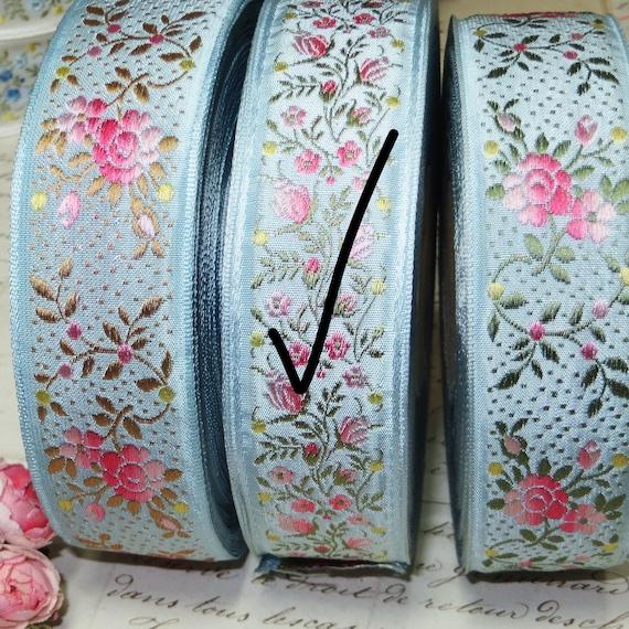 1J ~ 1» ~ Vintage FRANÇAIS bleu JACQUARD ruban jaune tissé GRL Rose Fleur Floral garniture rose bleu jaune ruban Olive blanc Antique noeud Cocarde de chapeau de mariage 5de3c1