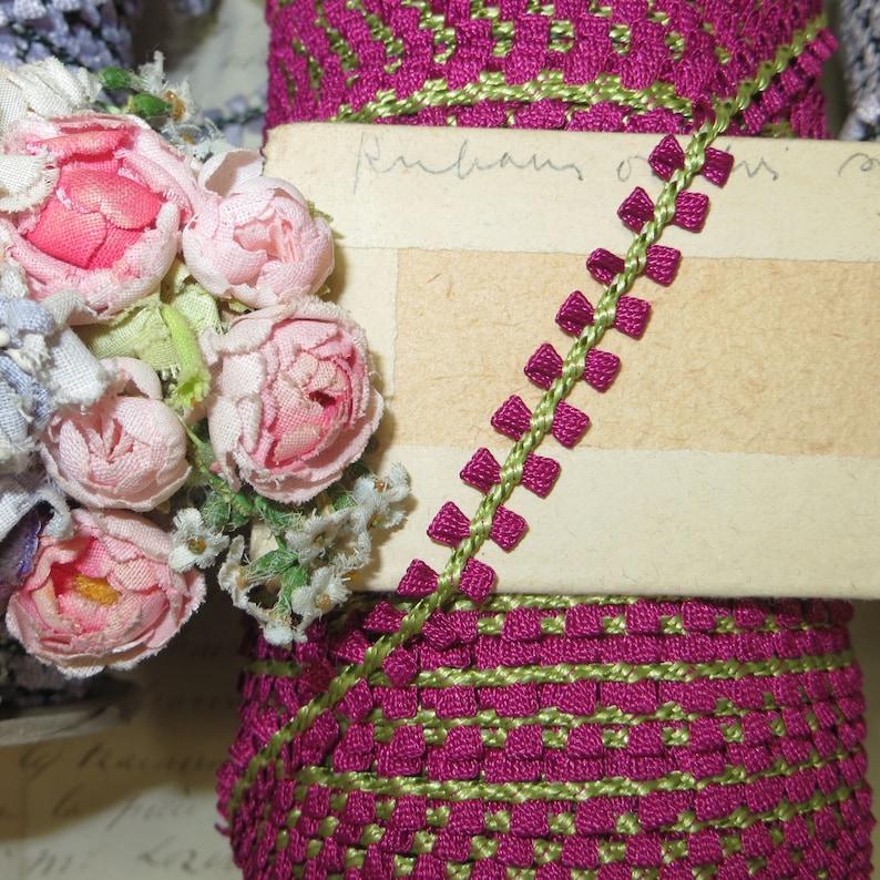 1y VTG FRENCH DARK PINK DAISY LACE FLOWER DOLL DRESS ANTQ TRIM RIBBON SCHIFFLI