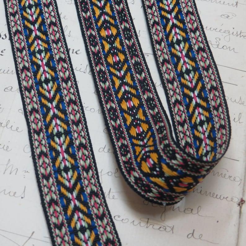 3y NAVY BLUE JACQUARD Ribbon Trim Tag Edelweiss Scandinavian Tribal Ethnic Trim American Indian Boho Gypsy Hippie Bohemian Brocade Fabric