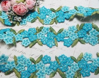 1y AQUA BLUE SCHIFFLI Applique Lace Braid Rose Daisy Crochet Vintage Cotton Cluny Trim antique Ribbon Doll dress Jacquard rococo Rosette