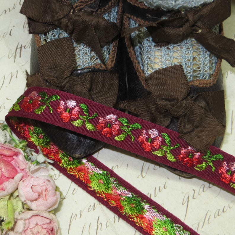 Burgundy red cabbage Rose Ribbon Rosette Rococo Boho Floral Flower Doll Dress applique lace 1y FRENCH WINE JACQUARD Trim Pink Red Ombre Tag