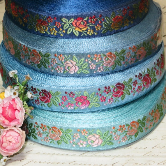 "1y VTG 3//4/"" BLUE GRAY OMBRE RIBBON TRIM BROCADE ROCOCO JACQUARD FRENCH DRESS DOL"