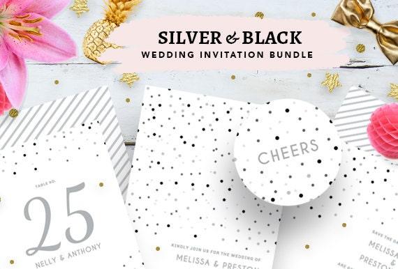 Plata Y Negro Paquete De Invitación De Boda Brillo Tarjeta De Boda Para Imprimir Tarjeta De Boda Diy Boda Imprimibles