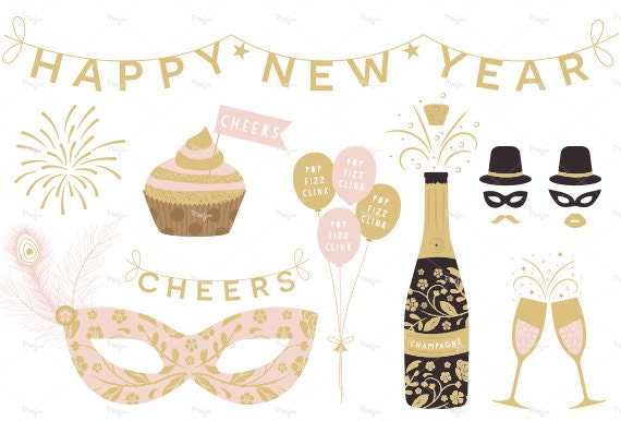 Happy New Year Clipart // Digital Party Clipart ...