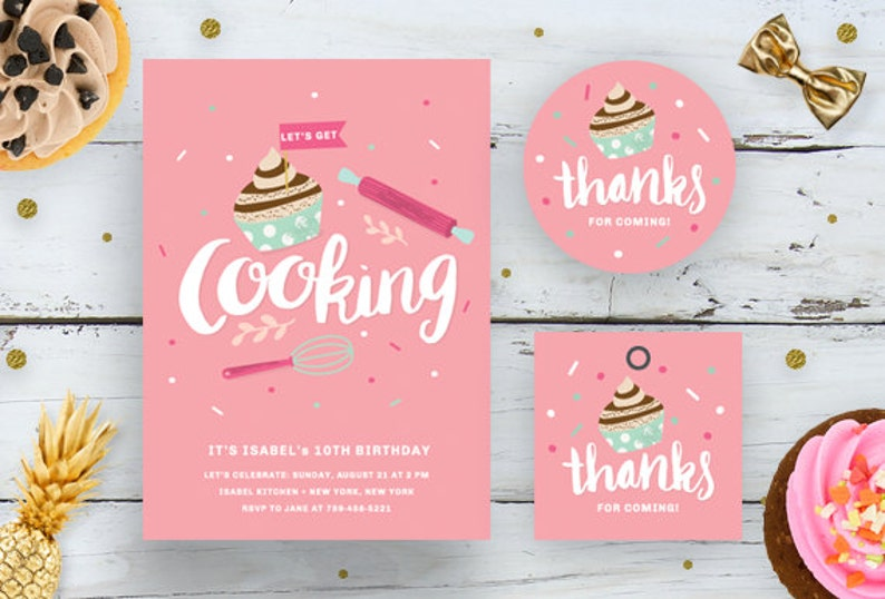 Kids Cooking Birthday Invitation Bundle DIY Card