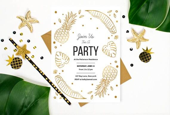 Para Imprimir Aloha Plantillas De Invitación Tropical Luau Invitación Diy Invitación Fiesta Hawaiana Invitan A La Fiesta De Verano Editable