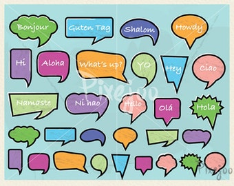 Speech Bubble Cliparts // Vector and PNG // Word Bubbles // Talk Bubbles // Instant Download